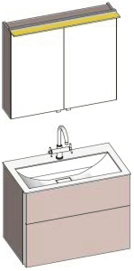 DIANA S200 (Fun2 Kompakt) Set Badmöbel Mineralgusswaschtisch weiß