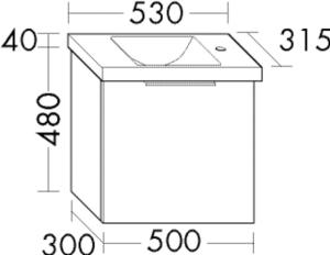 DIANA M300 Keramik-Waschtisch mit Waschtischunterschrank SFPF
