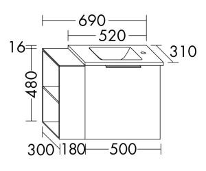 DIANA M300 Mineralguss-Waschtisch mit Waschtischunterschrank SFPG