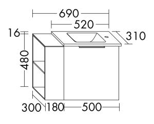 DIANA M300 (Neu) Mineralguss-Waschtisch mit Waschtischunterschrank SFPR