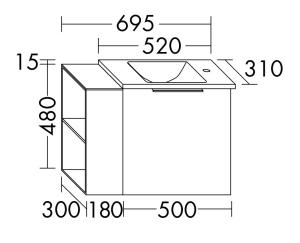 DIANA M300 Glas-Waschtisch mit Waschtischunterschrank