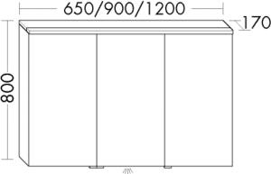 DIANA M300 (Vario) Badmöbel-Spiegelschrank SPGT