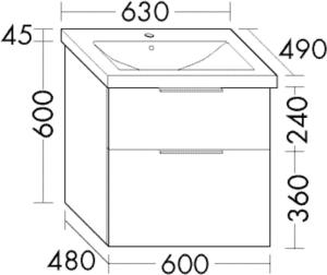 DIANA M300 (Vario) Keramik-Waschtisch inkl. Waschtischunterschrank SEZA