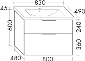 DIANA M300 Keramik-Waschtisch inkl. Waschtischunterschrank SEYQ