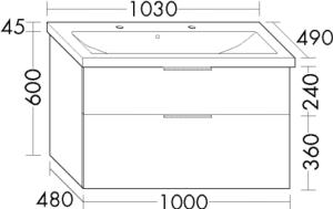 DIANA M300 (Vario) Keramik-Waschtisch inkl. Waschtischunterschrank SEYR