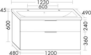 DIANA M300 Keramik-Waschtisch inkl. Waschtischunterschrank SEYR
