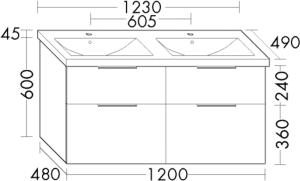 DIANA M300 (Vario) Keramik-Waschtisch inkl. Waschtischunterschrank SEYT123