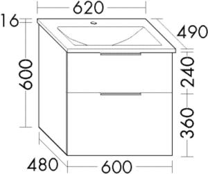 DIANA M300 (Vario) Mineralgusswaschtisch inkl. Waschtischunterschrank SEYU