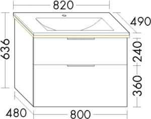 DIANA M300 (Vario) Mineralgusswaschtisch inkl. Waschtischunterschrank SEZE