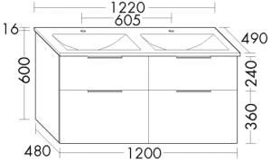 DIANA M300 (Vario) Mineralgusswaschtisch inkl. Waschtischunterschrank SEYW