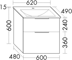 DIANA M300 (Vario) Glas-Waschtisch inkl. Waschtischunterschrank SEYX