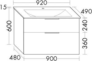 DIANA M300 Glas-Waschtisch inkl. Waschtischunterschrank SEYX