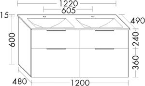DIANA M300 Glas-Waschtisch inkl. Waschtischunterschrank SEYY