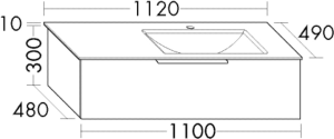 DIANA M500 (Neu) Mineralguss-Waschtisch mit Unterschrank SFSA