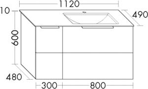 DIANA M500 (Neu) Mineralguss-Waschtisch mit Unterschrank SFSD