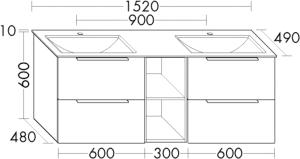 DIANA M500 (Neu) Mineralguss-Waschtisch mit Unterschrank SFSF