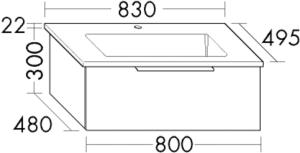 DIANA M500 (Neu) Keramik-Waschtisch mit Unterschrank SFSI