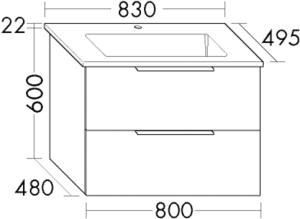 DIANA M500 (Neu) Keramik-Waschtisch mit Unterschrank SFSJ