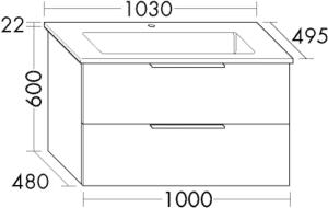 DIANA M500 Keramik-Waschtisch mit Unterschrank SFSJ