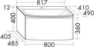 DIANA L400 Keramik-Waschtisch mit Unterschrank SFWG