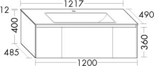 DIANA L400 Keramik-Waschtisch mit Unterschrank SFWH