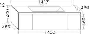 DIANA L400 (Neu) Keramik-Waschtisch mit Unterschrank SFWI