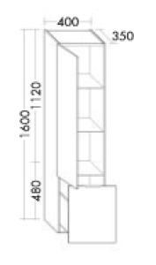 DIANA L200 Hochschrank mit 1 Tür