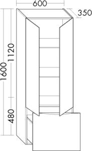 DIANA L200 Hochschrank mit 2 Türen