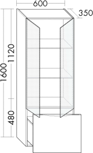DIANA L200 (Style2) Hochschrank LED mit 2 Glastüren