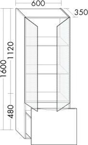 DIANA L200 Hochschrank LED mit 2 Glastüren