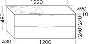 DIANA L200 Mineralgusswaschtisch mit Unterschrank