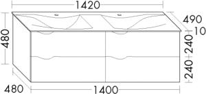 DIANA L200 (Style2) Mineralgusswaschtisch mit Unterschrank