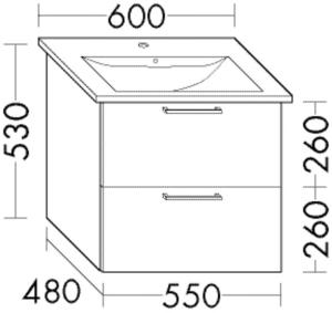 DIANA L200 (Style2) Waschtischunterschrank zu Venticello