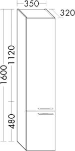 DIANA O100 (Smart2) Hochschrank mit 2 Türen