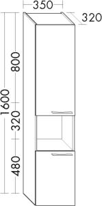 DIANA O100 (Smart2) Hochschrank mit 2 Türen und offenem Fach