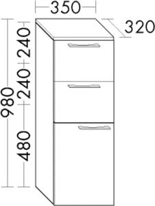 DIANA O100 (Smart2) Halbhochschrank mit 2 Schubladen