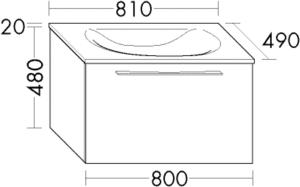 DIANA O100 (Smart2) Mineralgusswaschtisch inkl. Waschtischunterschrank SFGV