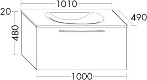 DIANA O100 Mineralgusswaschtisch inkl. Waschtischunterschrank SFGV