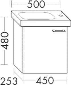 DIANA O100 Waschtischunterschrank zu DIANA S100 Badmöbel-Waschtisch