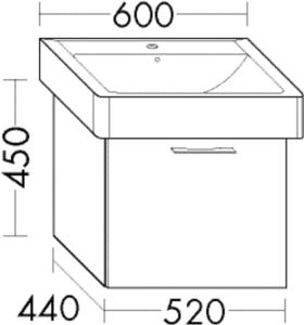 DIANA O100 (Smart2) Waschtischunterschrank zu Keramik-Waschtisch WVHK