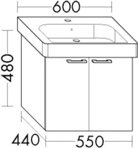 DIANA O100 (Smart2) Waschtischunterschrank zu DIANA M100 Badmöbel-Waschtisch