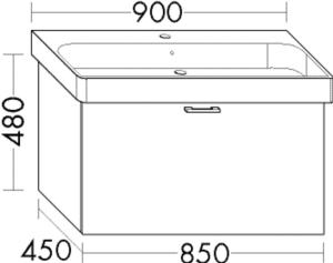 DIANA O100 Waschtischunterschrank zu DIANA M100 Badmöbel-Waschtisch