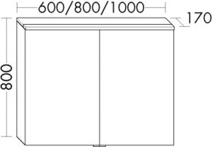 DIANA O100 (Smart2) Badmöbel-Spiegelschrank SPIE