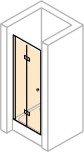 DIANA L700 Pendel-Falttür für Nische und Seitenwand rechts