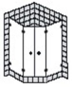 DIANA L500 (Trend) Fünfeck Pendeltür rahmenlos