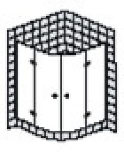 DIANA L500 Viertelkreis 2 Türen teilgerahmt