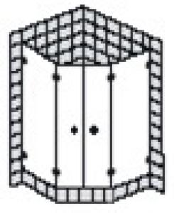 DIANA L600 (Prime) Fünfeck 2 Türen rahmenlos