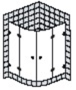 DIANA L600 (Prime) Viertelkreis 2 Türen rahmenlos